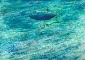 梶友哉「猫と気球船と」