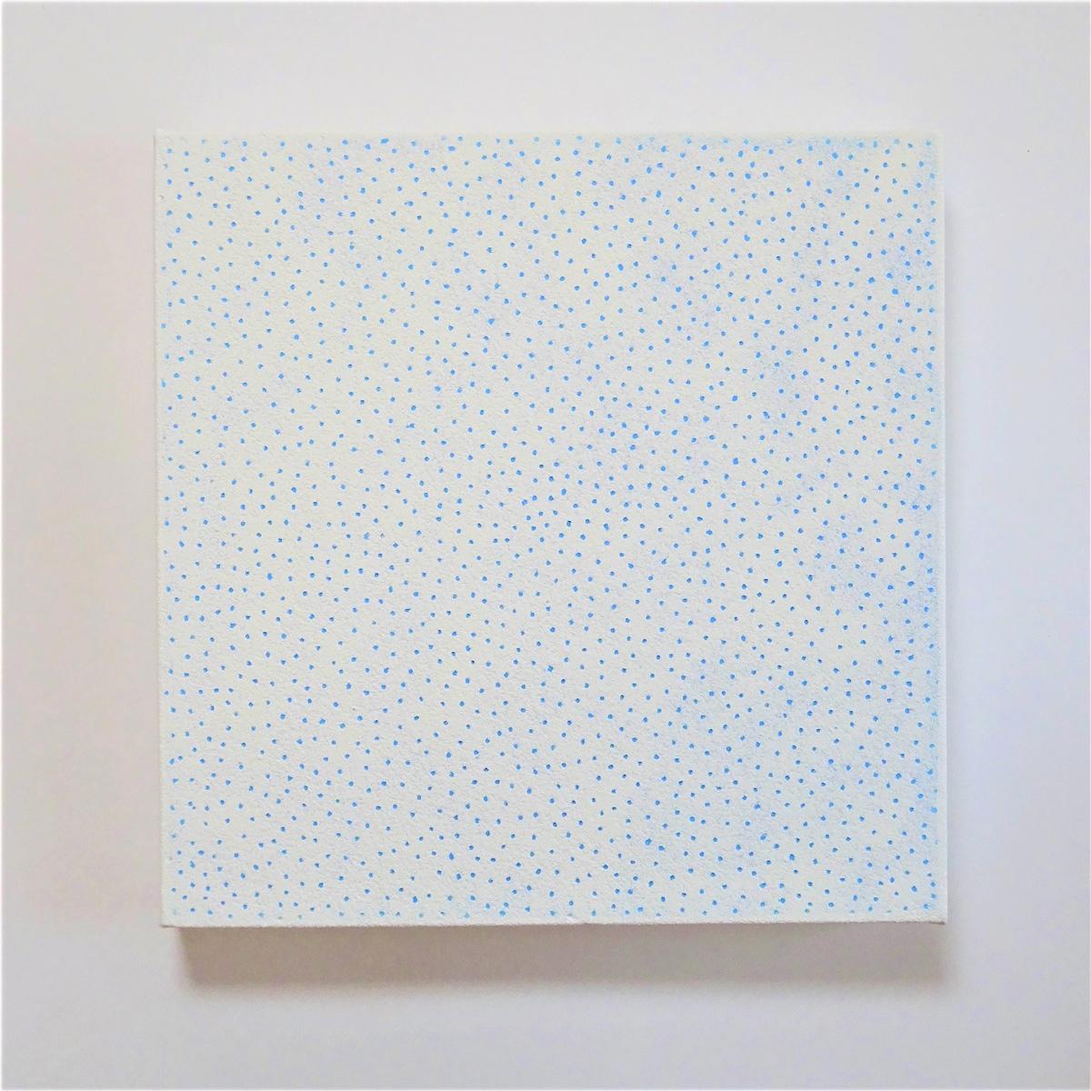 絵画レンタル販売 Art beans【No.195】「被膜の針孔 ホワイト&スカイブルー」/垣野内紀之