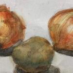 絵画レンタル販売 Art beans【No.205】「玉ねぎとじゃがいも」/小畑経修